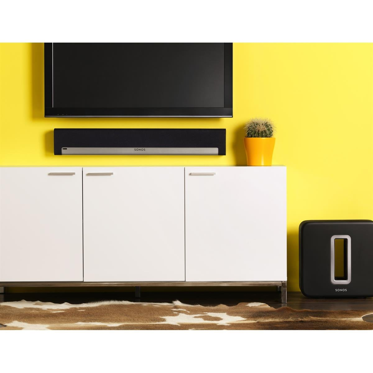 Sonos PLAYBAR Multi-Room Whole House Home Theater System with PLAY:1 Speakers, PLAY:3 Speaker, and SUB Wireless Subwoofer (White) by Sonos (Image #2)