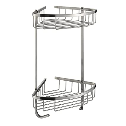 Genial Taozun SUS 304 Stainless Steel Shower Caddy Basket 2 Tier Triangular Wall  Mount Brushed