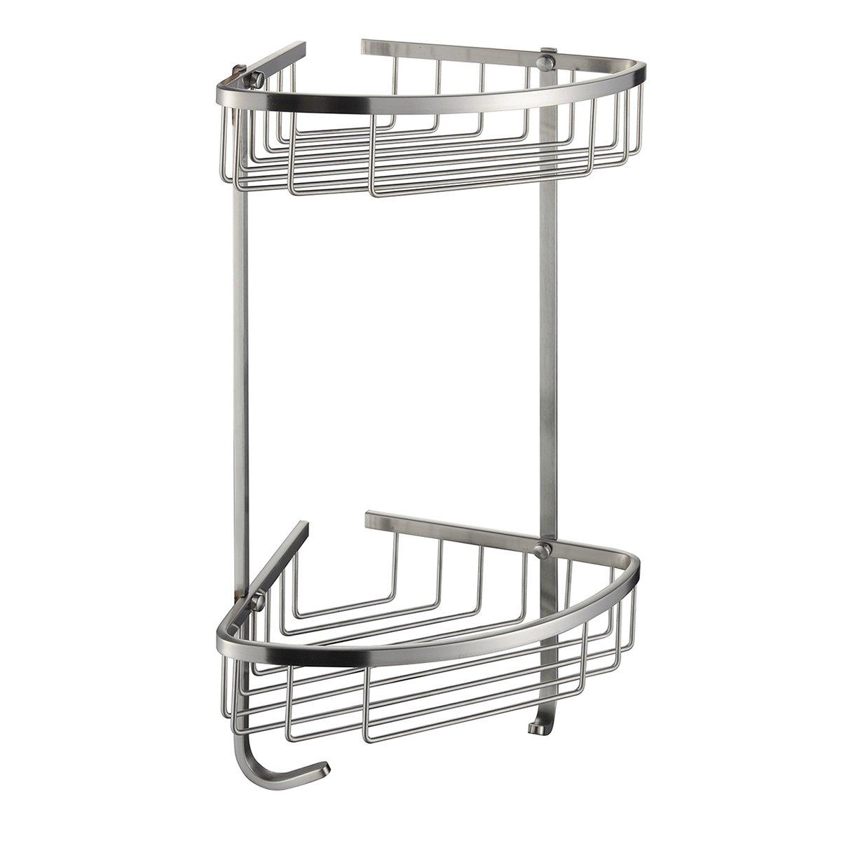 2 Tier Shower Caddy Corner Bathroom Stainless Steel Soap Bar Basket ...