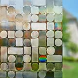 Rabbitgoo Non-adhesive Window Film Decorative Window Clings Static Cling Window Privacy Film for Glass Windows Decorations 3D Films, Brown Round&Square Pattern 44.5x200CM for Home Living Room Bedroom Kitchen Office Meeting Room, 17.5in. By 78.7in.