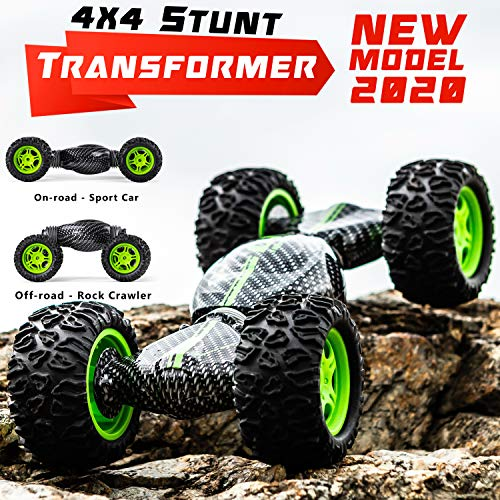 4WD Remote Control Stunt Toy Car for Kids - Cool Off Road RC Rock Crawler with 2-Sided Driving - Birthday for Boys and -