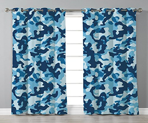 Thermal Insulated Blackout Grommet Window Curtains,Camouflage,Military Infantry Marine Troops Costume Pattern Vibrant Color Palette Surreal Decorative,Blue Coconut,2 Panel Set Window Drapes,for Living