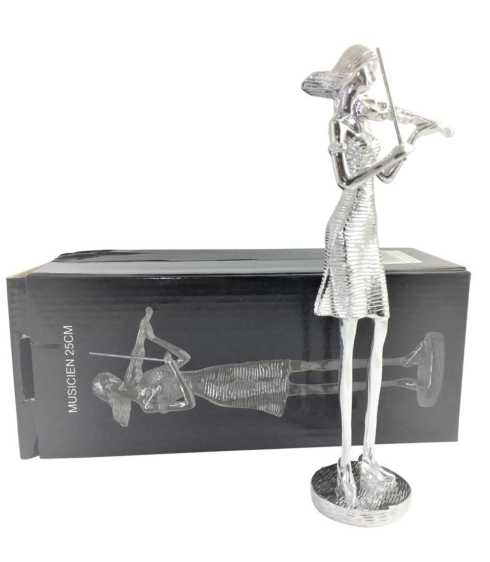 Beyond M/úsicos Viol/ín jugadora de Porcelana Figura para decoraci/ón de hogar Viol/ín Estatua de Porcelana Plata Acabado 25/cm Cr/édito Regalo