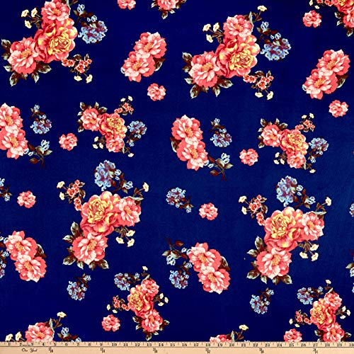 Fabric Merchants Double Brushed Poly Jersey Knit Floral Garden Fabric, Navy/Brick, Fabric By The - Floral Jersey Spandex