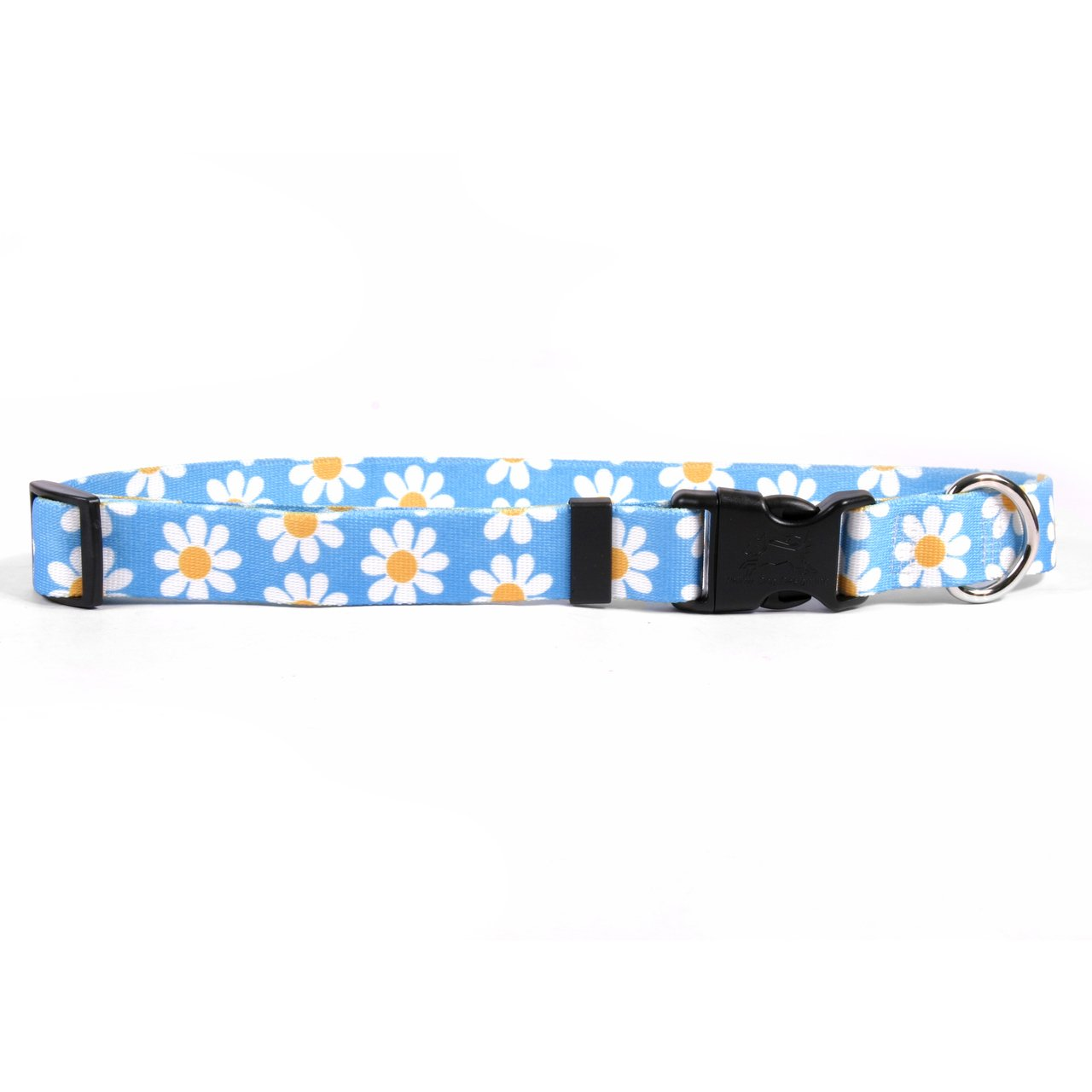 Yellow Dog Design Blue Daisy Dog Collar 3/4'' Wide and Fits Neck 10 to 14'', Small