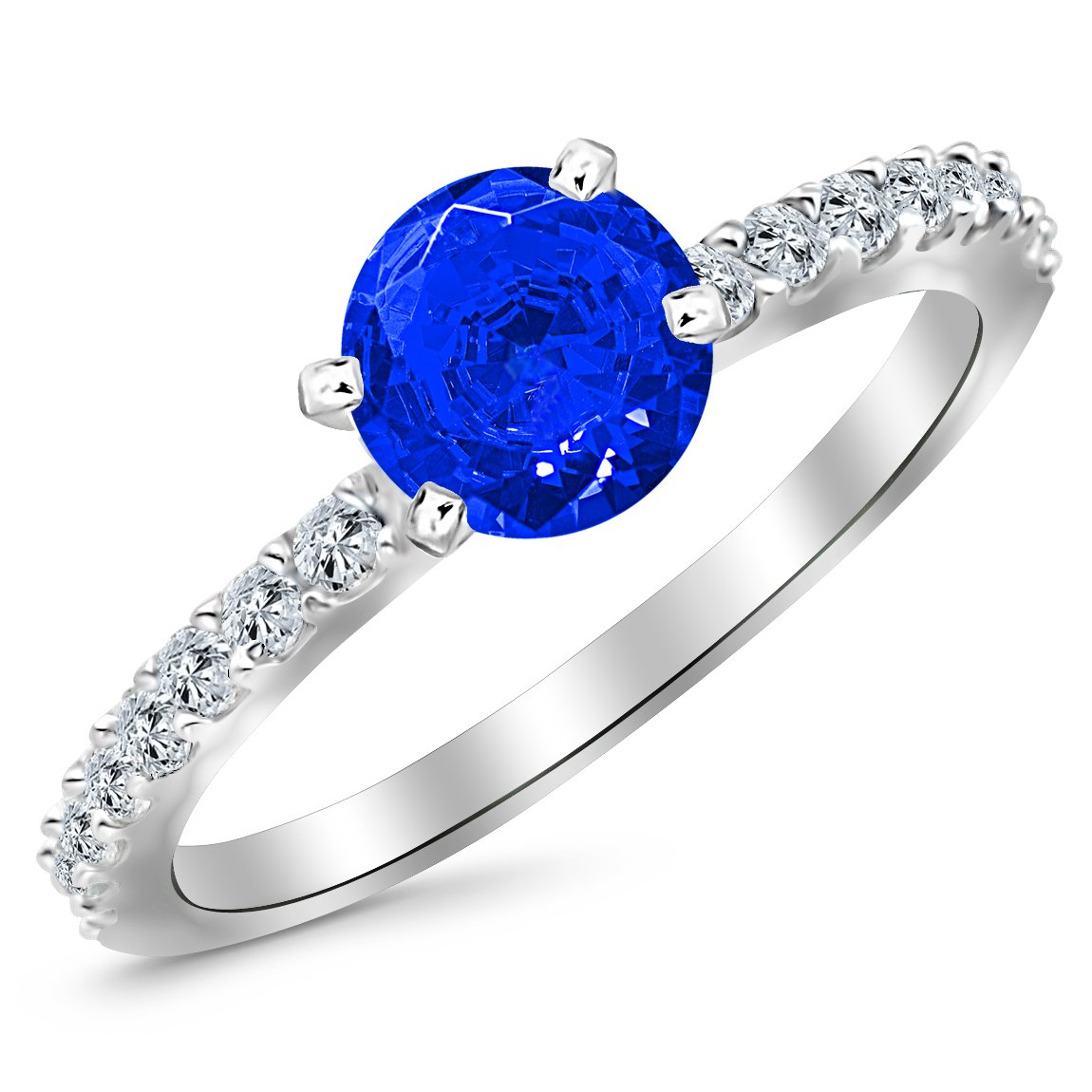 14K White Gold Classic Side Stone Pave Set Diamond Engagement Ring with a 3 Carat Blue Sapphire Heirloom Quality Center