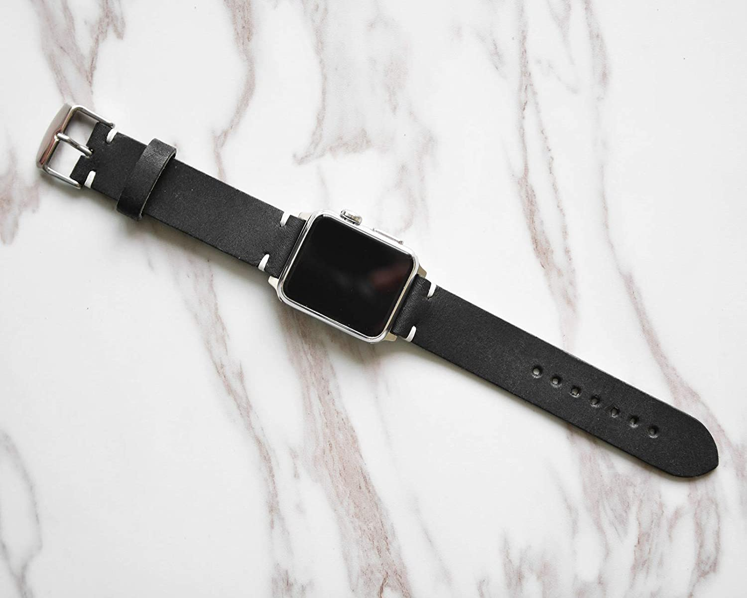 Black iWatch 4 Band 38mm 40mm 42mm 44mm Custom Distressed Genuine Leather Mens Apple Strap For Series 1 2 3