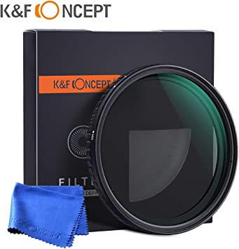 K/&F Concept 67mm Ultra Slim Variable Adjustable Fader Neutral Density Filter MRC 18-Layer Optical Glass Nano Coating Waterproof ND2 ND4 ND8 ND16 to ND32 Lens Filter NO Spot X Black X Issue
