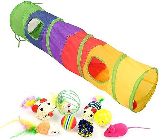 Túneles Para Gatos Artículos Para Gatos Tubos Y Túneles Para Animales Pequeños Coloridos Juguetes Para Gatos Kit Para Mascotas Túnel Plegable 4 Agujeros Tubos De Juego Bolas Pluma Ratones Form: Amazon.es: Productos