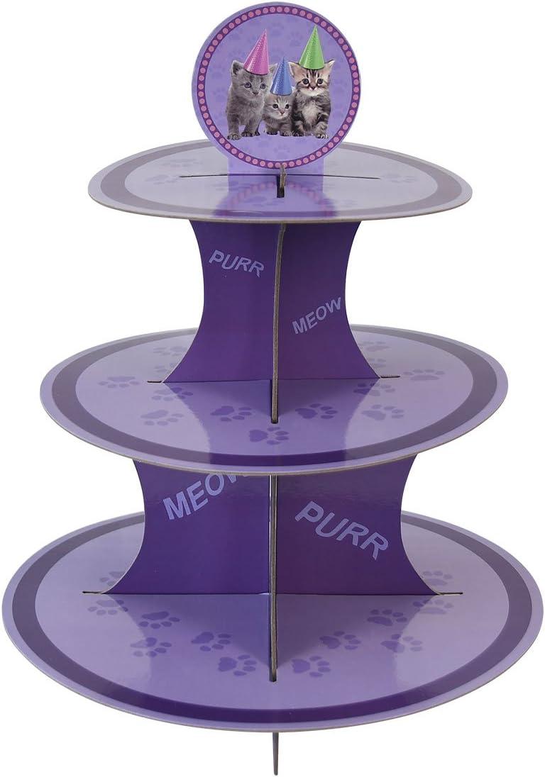 Kitten Cupcake Stand & Pick Kit, Cat Party Supplies, Kitten Decorations, Birthdays, Cake Decorations, Kids Birthdays, 3 Tier Cardboard