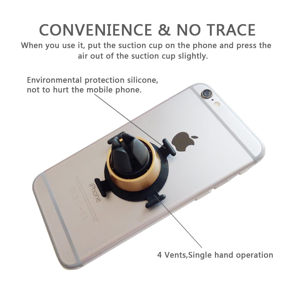 7 Galaxy S8 Gold DREAM LIFE 4351575059 S7 Edge 6 Car Air Vent Mount Phone Holder by BASEEING Super Sucker No Trace Fast Removal with 4 feet S7 6S for Cell Phones and Mini Tablets,Including XS,X 8