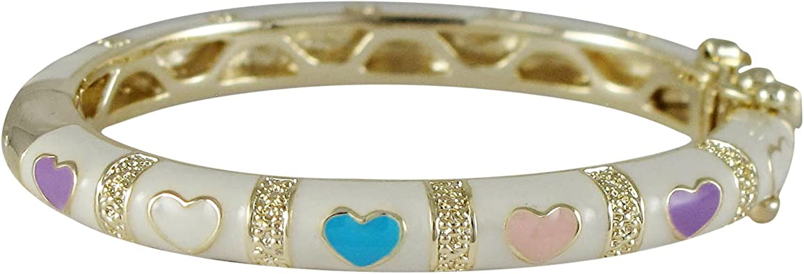35-mm Ivy and Max Gold Finish Hot Pink and White Enamel Heart Girls Bangle Bracelet