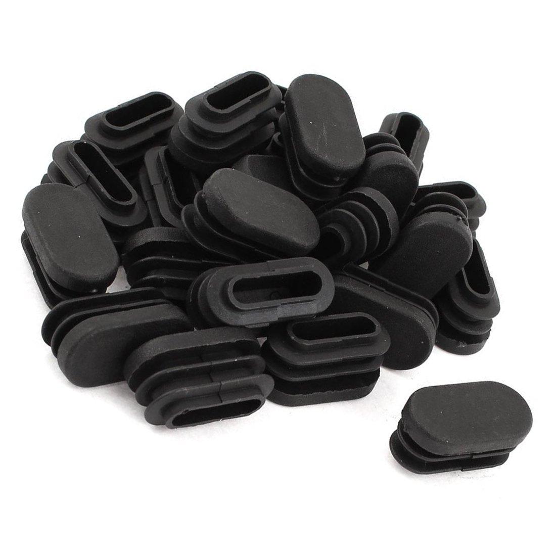 15mm x 30mm Embout en plastique ovale en forme de tube Insert Noir 24 pcs SODIAL Embout de tube R