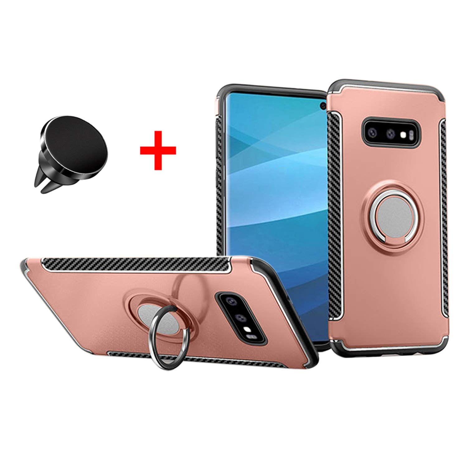 Woskko Galaxy S10e case, Hybrid TPU+PC Built-in Car Magnetic Suction Bracket Finger Ring Shockproof Case with car Magnetic Holder (Rose Gold+Car Holder)