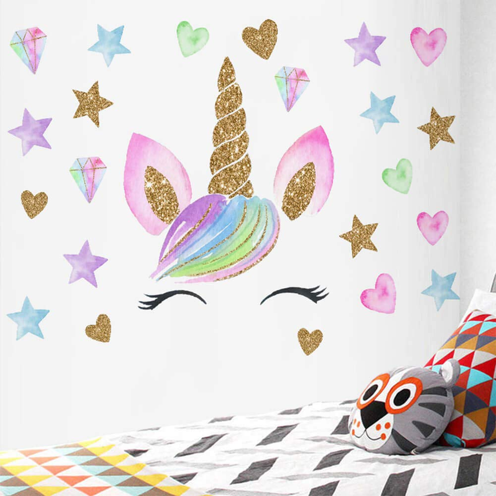 Unicorn Wall Decal Unicorn Wall Decor Stickers Decals for Kids Rooms Gifts for Girls Bedroom Nursery Home