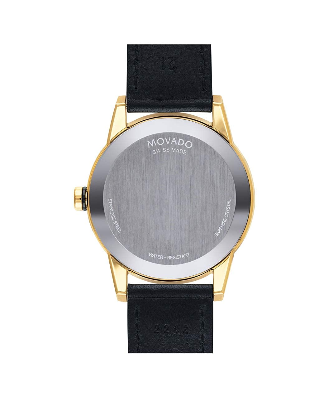 c158717be Amazon.com: Movado Men's Museum Sport Yellow Gold Watch with a Printed  Index Dial, Black/Gold (Model 0607223): Watches