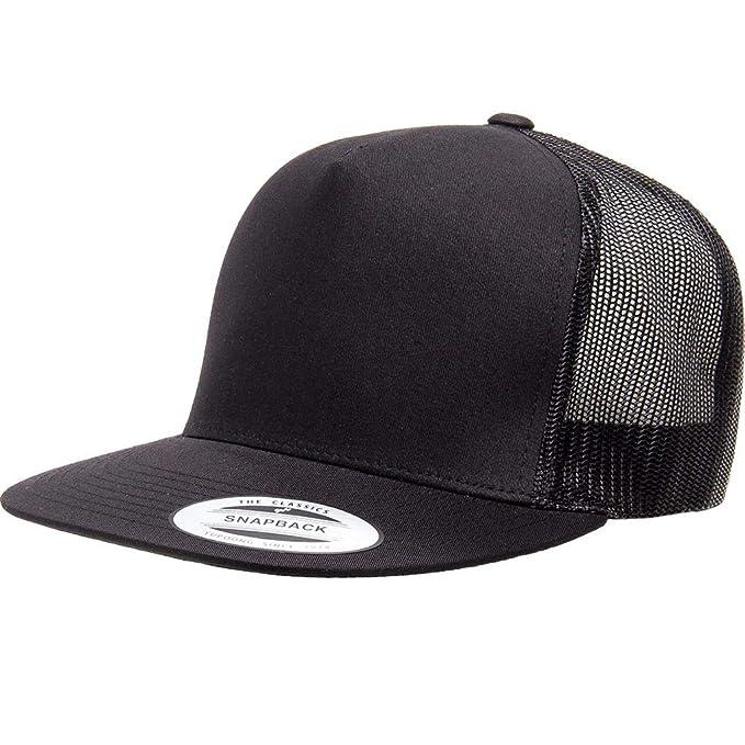 55236600970c4 Running Partner Yupoong 6006 Flatbill Trucker Mesh Snapback Hat with  NoSweat Hat Liner (Black