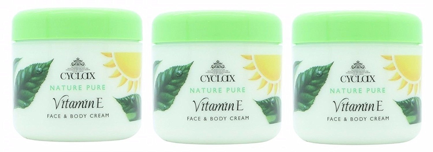 Tres paquetes Cyclax vitamina E Face & Body Cream 300 ml: Amazon.es: Belleza