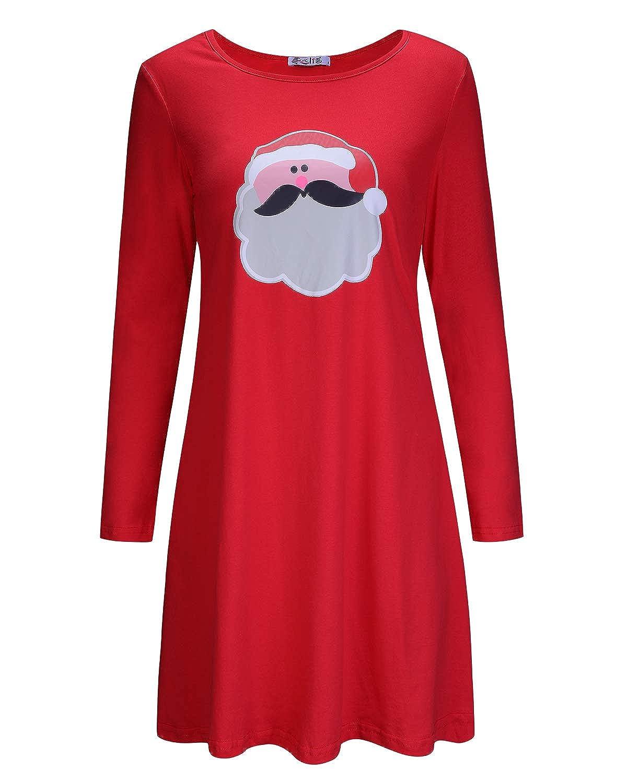 Red KILIG Women's Long Sleeve Christmas Santa Dress Stripe Casual Dress