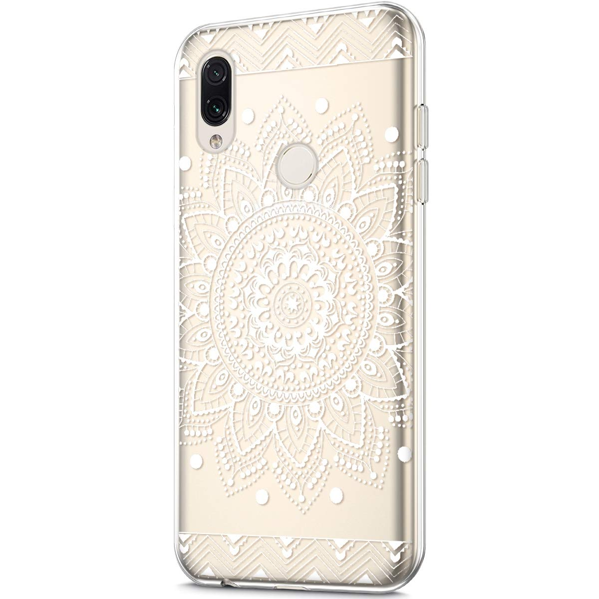 Coque Compatible avec Xiaomi Redmi Note 7 /Étui KunyFond Dur TPU Silicone Clear Fleurs Motif Protection Choc Scratch Slim Cristal Clair Transparent Hybrid Souple Bumper Skin Couverture,Fleur Bleue