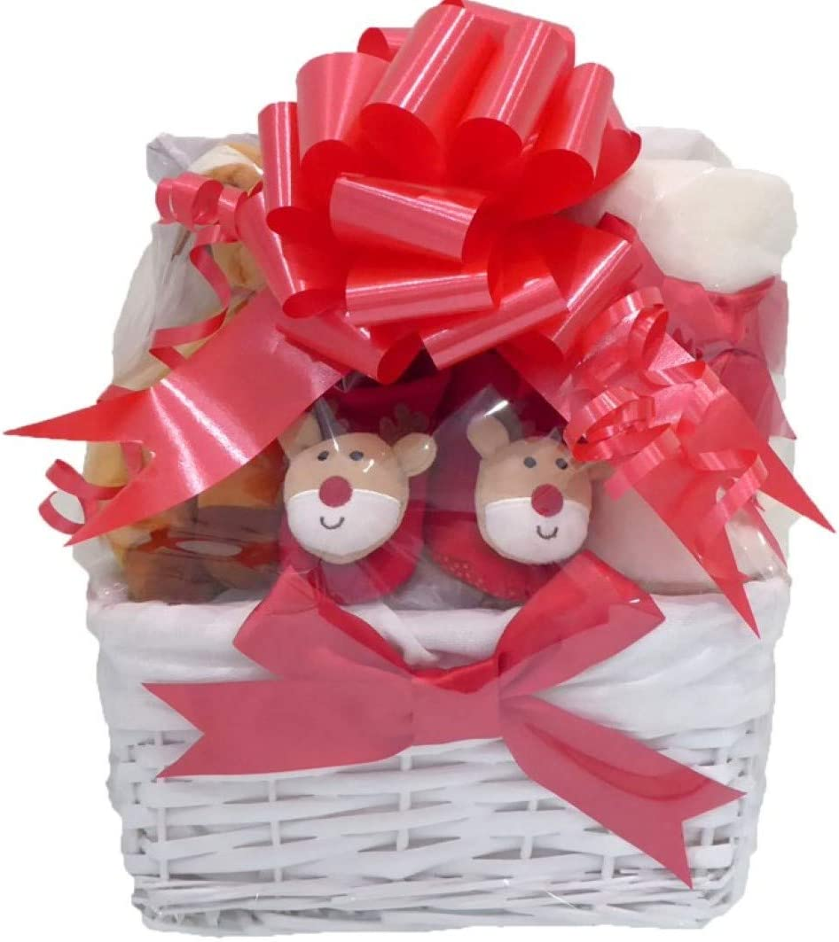 Baby-s My First Christmas Reindeer Hamper Gift Basket for Boys Girls Unisex 1st Xmas Babies Teddy Bear Toys Present-s Gifts Boy Girl for New-Born Shower Decorations Themed Hampers Baskets Neutral Set