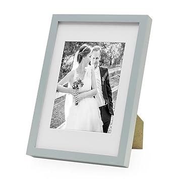 PHOTOLINI Bilderrahmen Modern Tief Grau Massivholz 21x30 Cm DIN A4 Mit Passepartout 15x20 Fotorahmen