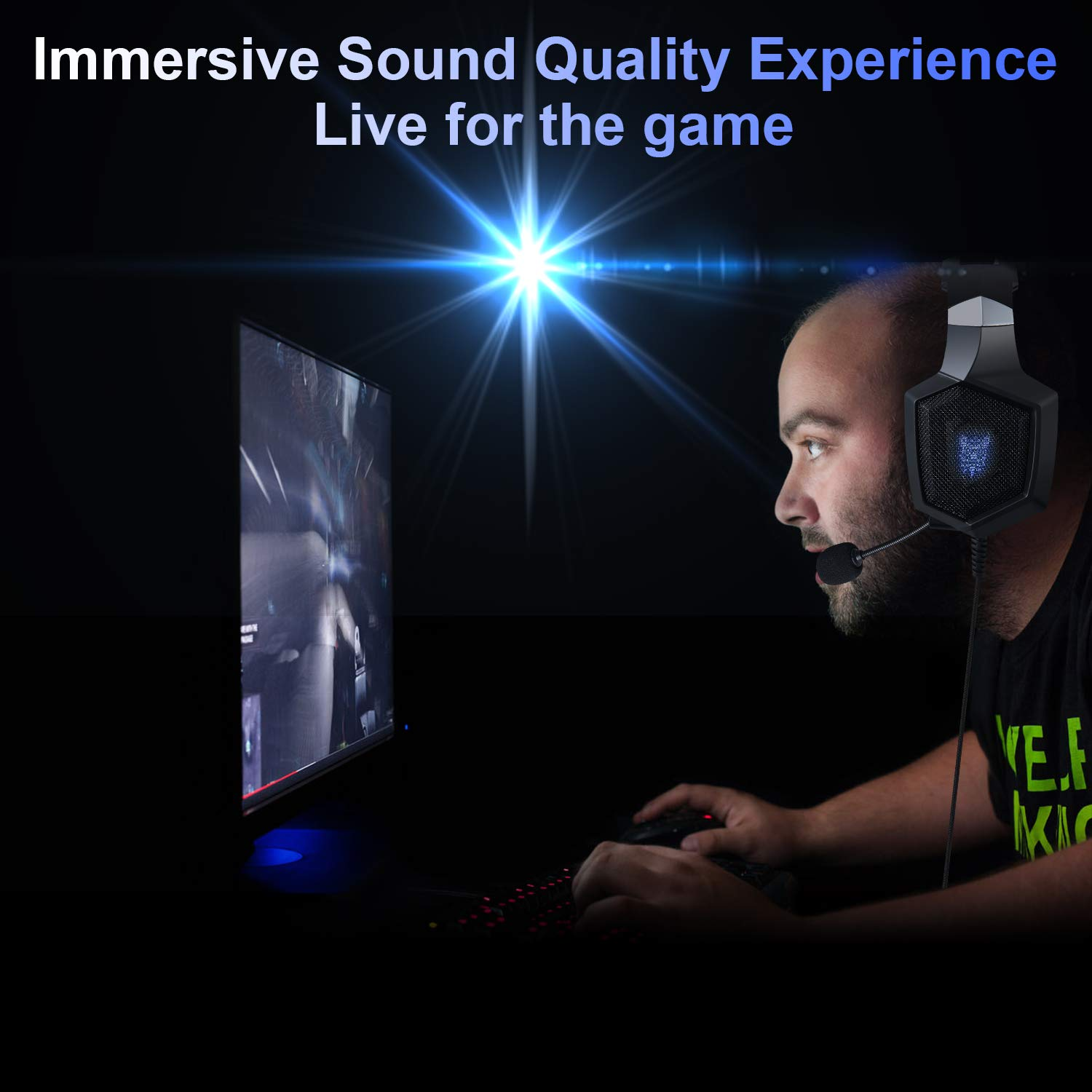 Gaming Headset XBox One S PS4 Nintendo Switch ONIKUMA Stereo PS4 Headset with RGB Breathing LED Light Noise Reduction/Volume Control/Over-Ear xbox one Headset with Mic for Laptop PC Mac Computer and Smartphone