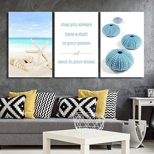 3 Panel Tropical Beach with Seashells and Urchins with Inspirational Quotes Gallery x 3 Panels