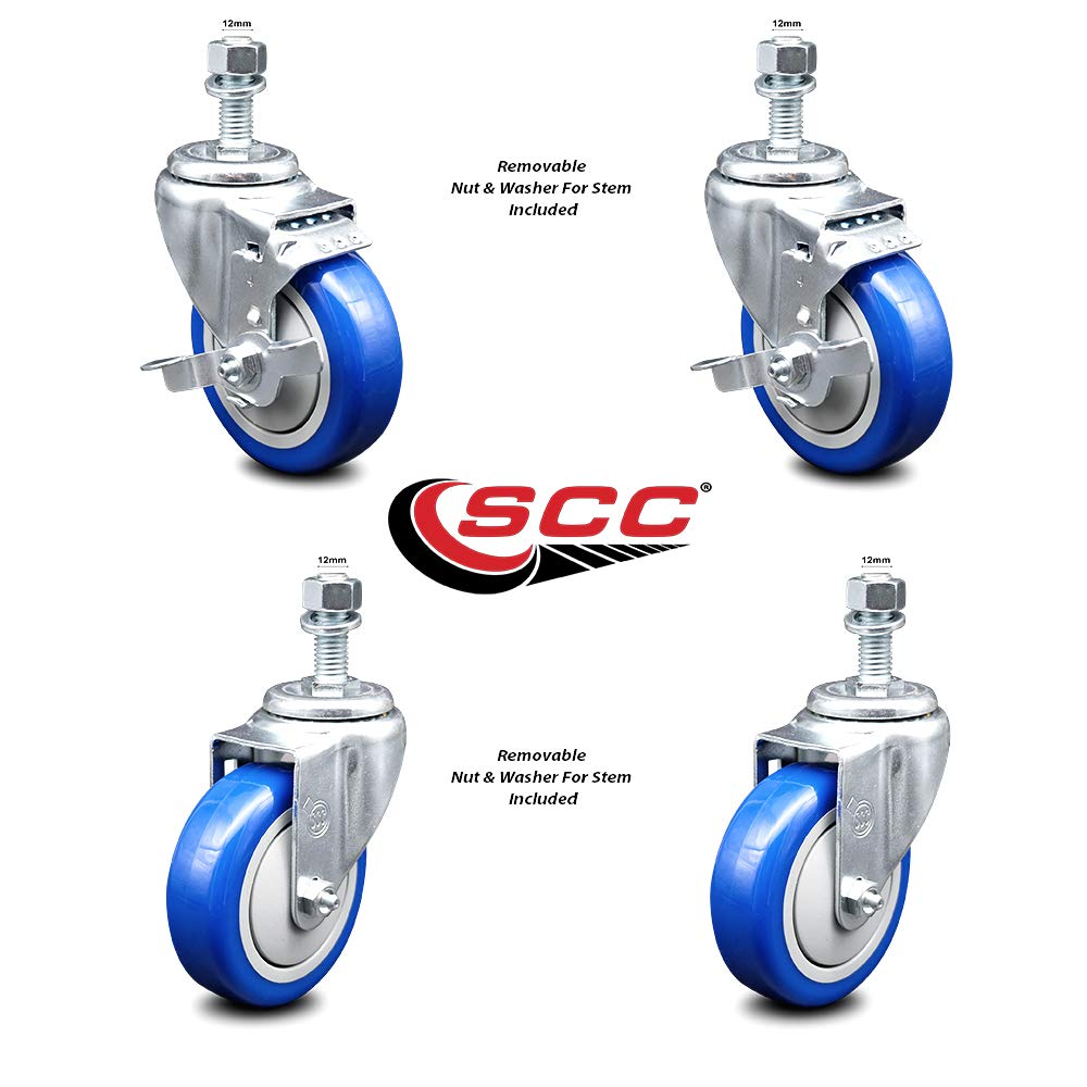 Blue Polyurethane Swivel Threaded Stem Caster Set of 4 w/4'' x 1.25'' Wheels and 12mm Stems - Includes 2 with Top Locking Brake - 1200 lbs Total Capacity - Service Caster Brand