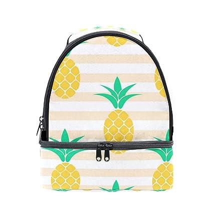 da40b706b313 Amazon.com: Pink Striped Yellow Pineapple Double Lunch Bags, Lunch ...
