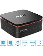 "ACEPC AK1 Mini PC,Windows 10(64 bit) Computer desktop Intel Celeron Apollo Lake J3455 (fino a 2,3GHz) Computer desktop[4GB/64GB/Supporto SSD da 2,5""/ SSD mSATA/Doppio WiFi/Gigabit Ethernet/BT 4.2/4K]"