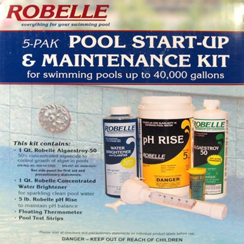 Robelle Clarifier, Algaecide, pH Increaser, Test Kit and Thermometer Swimming Pool Start-Up & Maintenance Chemical Kit For Pools Up To 40,000 Gallons (Pool Chlorine Chemical Splashes Free)