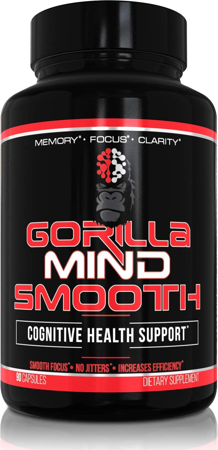 Gorilla Mind Smooth Nootropic Formula Memory Focus Mental Clarity No Jitters – Lion s Mane Mushroom, DMAE, Alpha GPC, Bacopa Monnieri, L-Theanine More – 90 Capsules