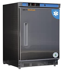 """am-1 AM-LAB-UC-FSP-04-SS Undercounter Medical/Laboratory Freezer, MedLab Premium Stainless Steel 4.2 cu. ft,33.4"""" H, 23.75"""" L, 23.75"""" W, Stainless Steel"""