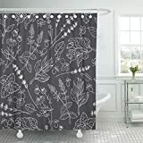 QIUJUAN Home Decor Bath Curtain Shower Curtain with Hook Polyester Fabric Flower Herbs Herbal Botanical Outline Sketch White Line on Black Plant Lavender Waterproof Adjustable Hook Sets for Bathroom
