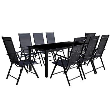 Festnight Conjunto de Mesa y Sillas de Jardín Mesa de Comedor 8 Sillas Plegables Negro