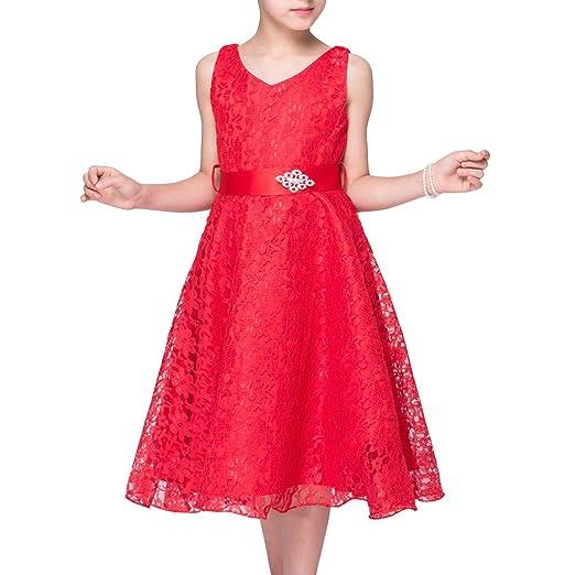 LA JINIRR Flower Girls V-Neck Lace Wedding Party Bridesmaid Princess Dress: Amazon.co.uk: Clothing