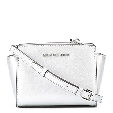 451261e820d6 MICHAEL by Michael Kors Selma Mini Silver Saffiano Messenger Bag one size  Silver