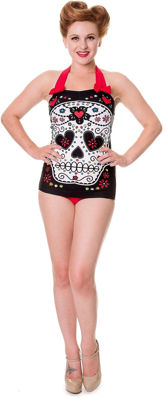Banned Black Sugar Skull Swimsuit
