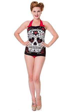 5b8d676cc8e69 Banned Black Sugar Skull Swimsuit - UK 8 US 4 EU 34 at Amazon Women s  Clothing store