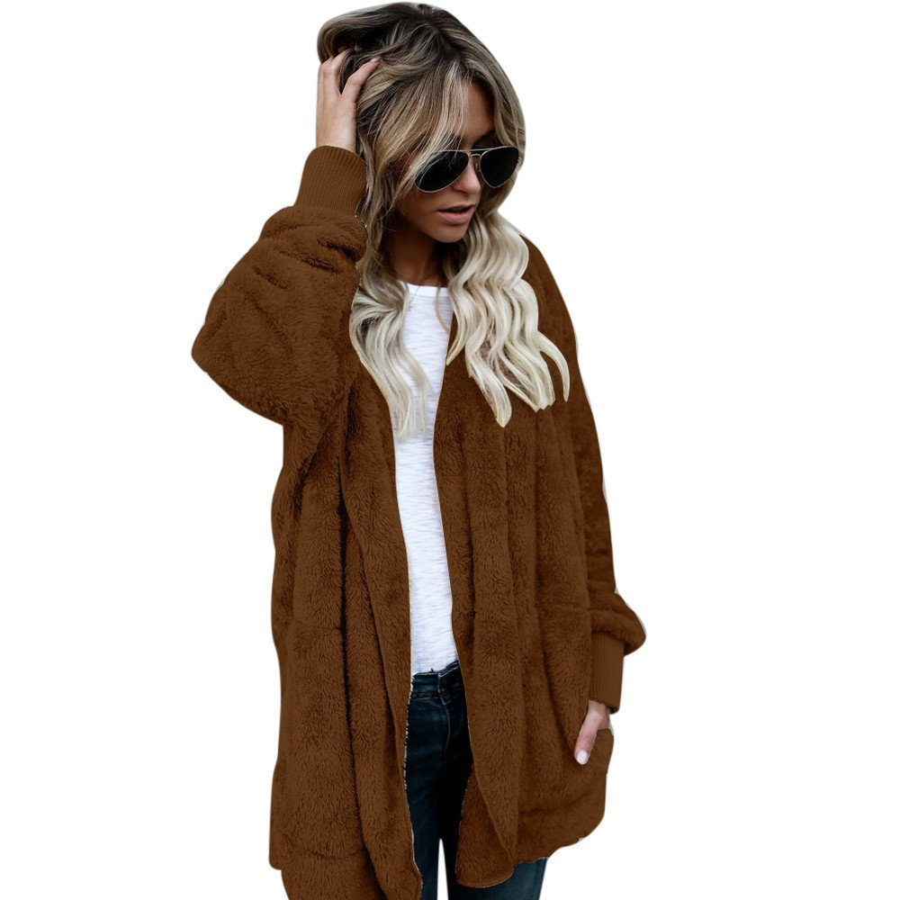 ANJUNIE Faux Fur Coats, Women's Casual Pocket Jacket Winter Warm Parka Outwear Overcoat Women' s Casual Pocket Jacket Winter Warm Parka Outwear Overcoat