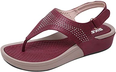 iFRich Sandales Femmes Plates, Tongs Chaussures Été Nu Pieds