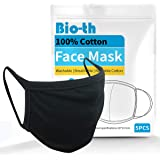 Bio-th 5 Pack Premium Cloth Face Mask Machine Washable Reusable Breathable Comfort Ear Loop Cotton Youth Adult L/XL…