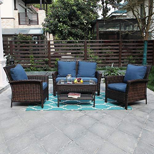 (PHI VILLA Outdoor Rattan Patio Furniture Set 4 Piece Conversation Set Wicker Furniture Sofa with Seat Cushions)