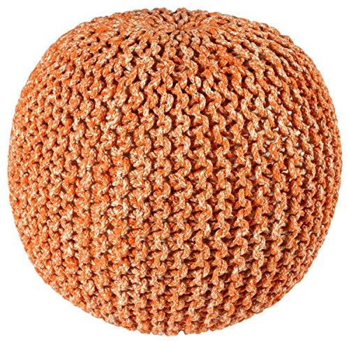 - Pouf Ottoman 2-Tone Cotton Rope, Orange, 16-Inch
