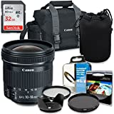 Professional Accessory Kit with Canon EF-S 10-18mm f/4.5-5.6 IS STM Lens & Canon 300-DG Shoulder Bag + SanDisk 32GB Class 10 Memory + Bundle Package including HD filters