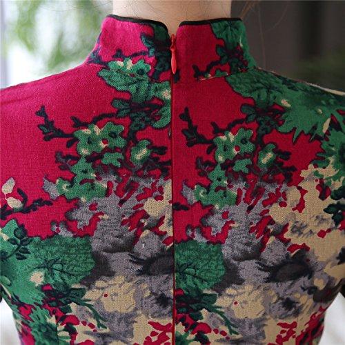 (上海物語) Shanghai Story 中国風 ドレス 花柄 ショット丈 半袖 スタンドカラー 麻綿 チャイナボタン チャイナドレス ワンピース 春秋