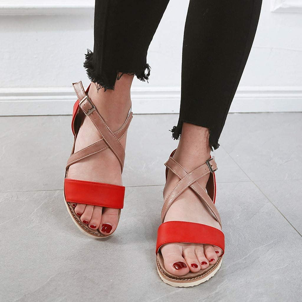Sandals Womens Summer Peep Toe Beach Breathable Flat Buckle Strap Sandals Rome Shoes Pandaie Womens ..
