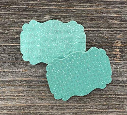 (50 Blank Glitter Jade Scalloped Edge Bracket Hang Wedding Party Tags Tag)
