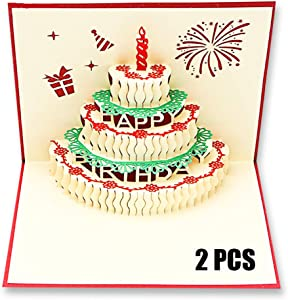 Pop Up Cards Birthday Handmade 3D Pop up Birthday Card for Women Men Kids with Envelope Laser Cut Gift Cards (Birthday cake with candle) Pack of 2